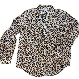 Jones NY Sport Vintage Cheetah Blouse Size Large